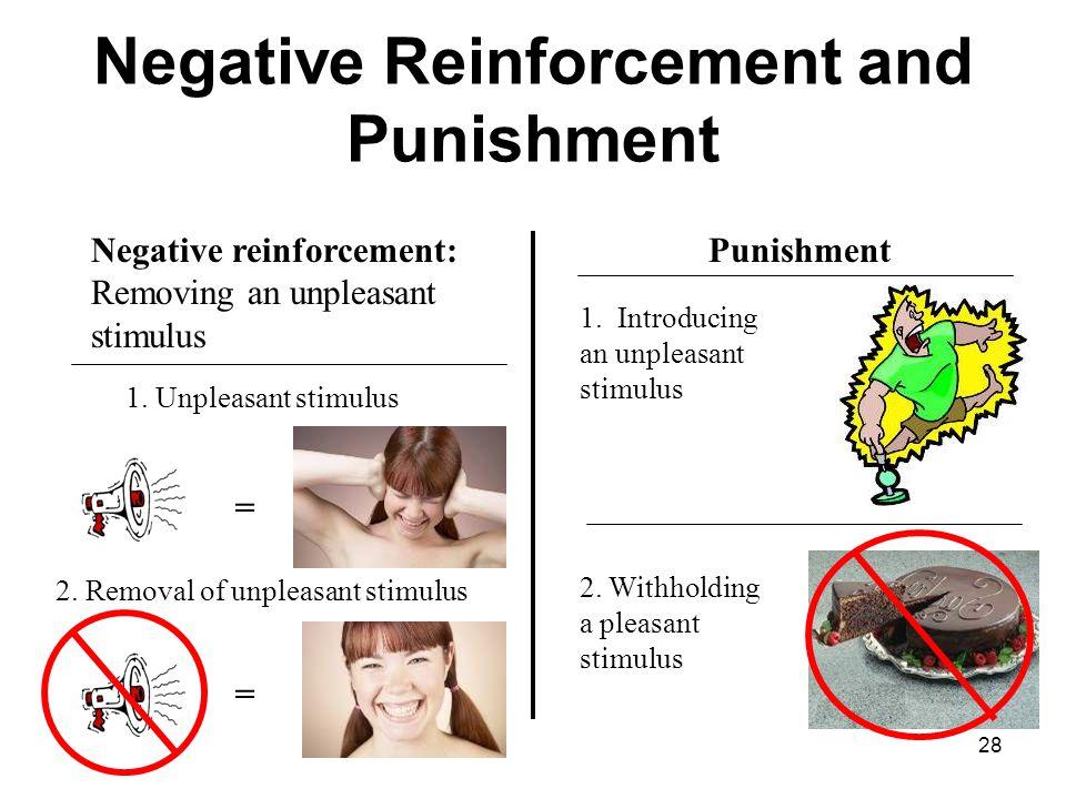 28 Negative Reinforcement and Punishment Negative reinforcement: Removing an unpleasant stimulus Punishment 1.