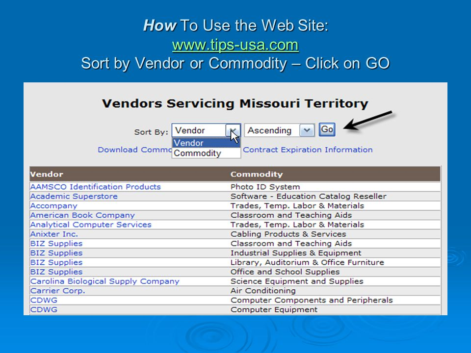 How To Use the Web Site: www.tips-usa.com Sort by Vendor or Commodity – Click on GO www.tips-usa.com