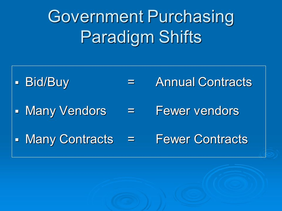 Government Purchasing Paradigm Shifts  Costly Paperwork=E-commerce  Purchasing Control=Customer Service  Price Only = Value Added Services  Low bid= Total cost purchasing