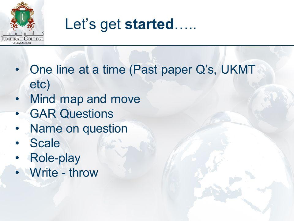 Let's get started…..