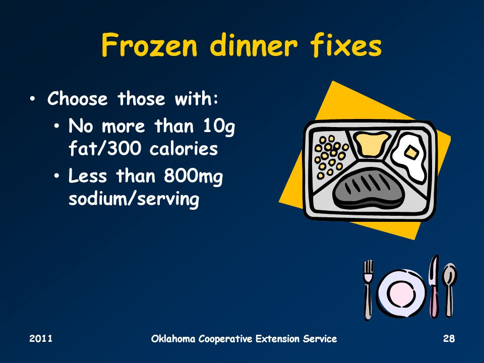 2011Oklahoma Cooperative Extension Service28 Frozen dinner fixes Choose those with: No more than 10g fat/300 calories Less than 800mg sodium/serving