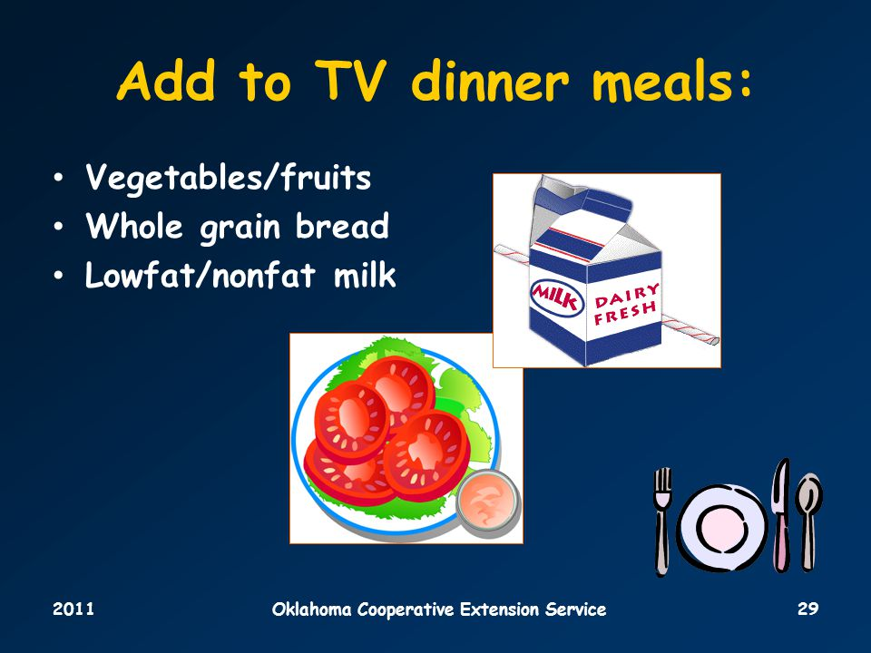 2011Oklahoma Cooperative Extension Service29 Add to TV dinner meals: Vegetables/fruits Whole grain bread Lowfat/nonfat milk