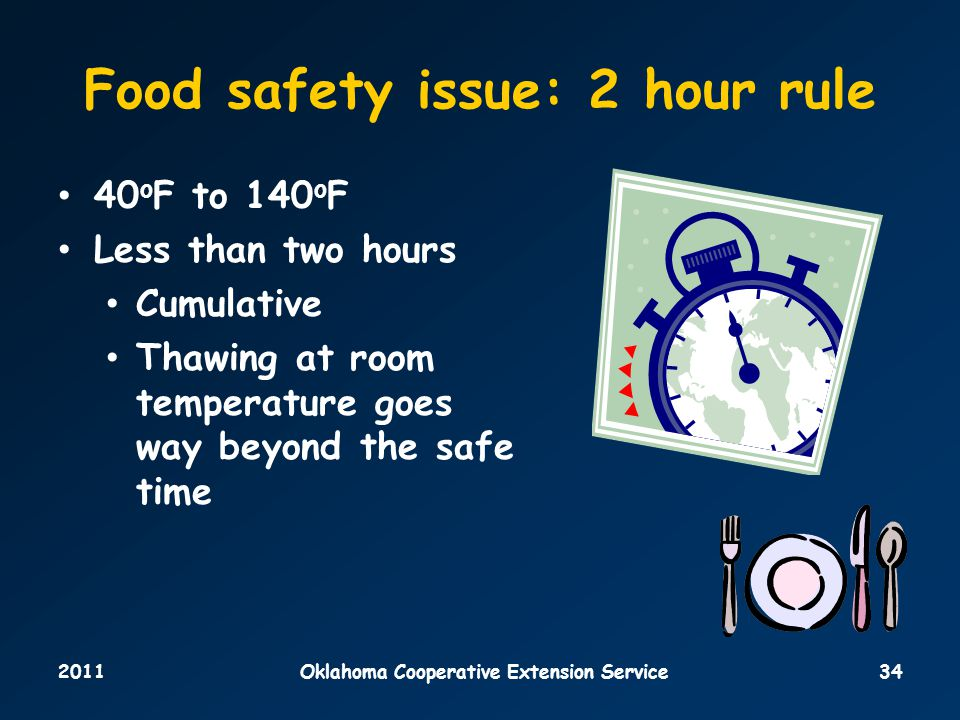 2011Oklahoma Cooperative Extension Service34 Food safety issue: 2 hour rule 40 o F to 140 o F Less than two hours Cumulative Thawing at room temperature goes way beyond the safe time