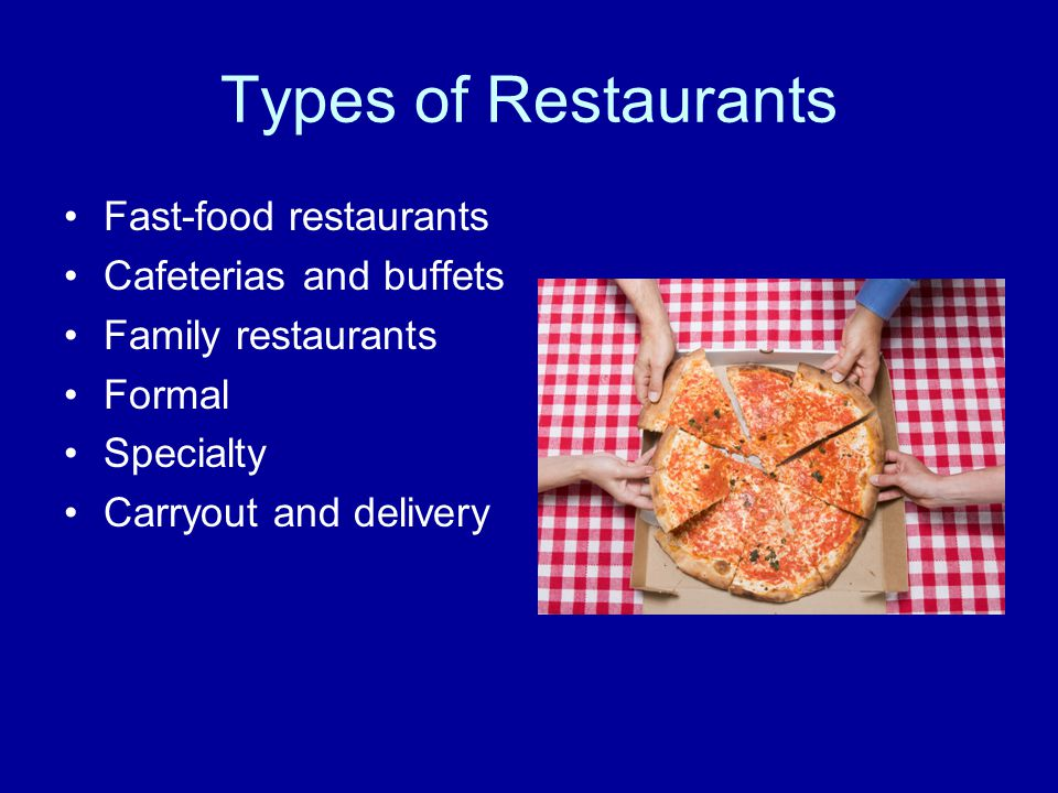 Types of Restaurants Fast-food restaurants Cafeterias and buffets Family restaurants Formal Specialty Carryout and delivery