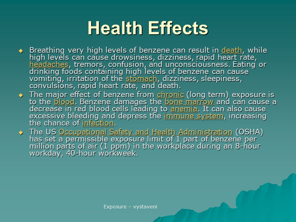 Health Effects  Breathing very high levels of benzene can result in death, while high levels can cause drowsiness, dizziness, rapid heart rate, heada