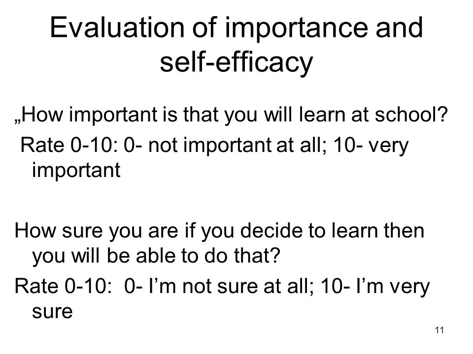 "Evaluation of importance and self-efficacy ""How important is that you will learn at school."