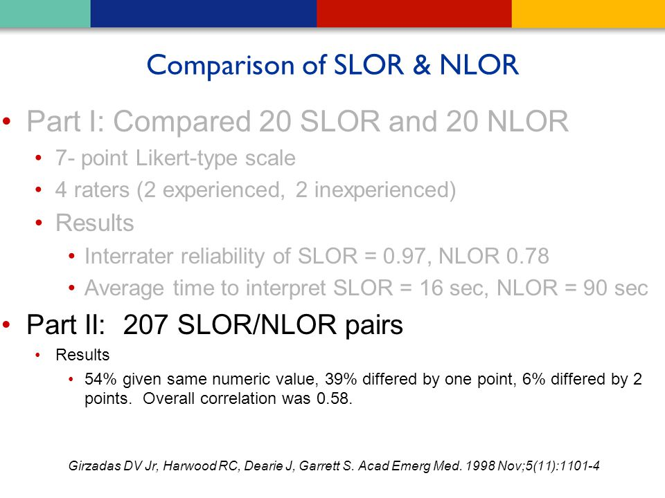 Comparison of SLOR & NLOR Part I: Compared 20 SLOR and 20 NLOR 7- point Likert-type scale 4 raters (2 experienced, 2 inexperienced) Results Interrater
