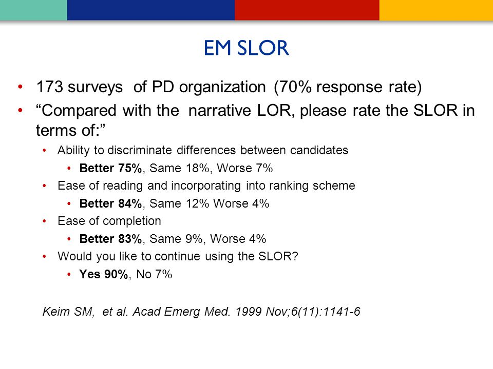 """EM SLOR 173 surveys of PD organization (70% response rate) """"Compared with the narrative LOR, please rate the SLOR in terms of:"""" Ability to discriminat"""