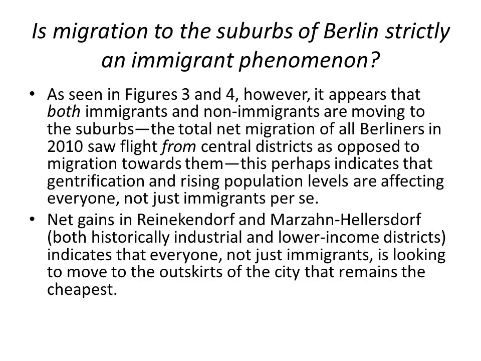 Is migration to the suburbs of Berlin strictly an immigrant phenomenon.