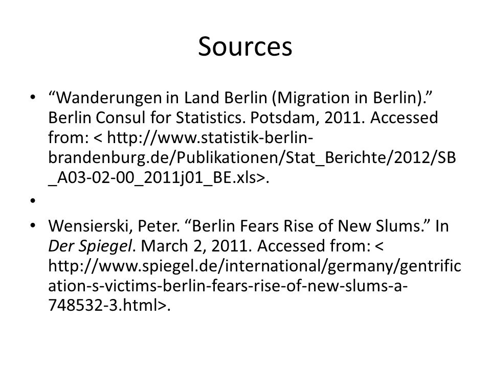 Sources Wanderungen in Land Berlin (Migration in Berlin). Berlin Consul for Statistics.