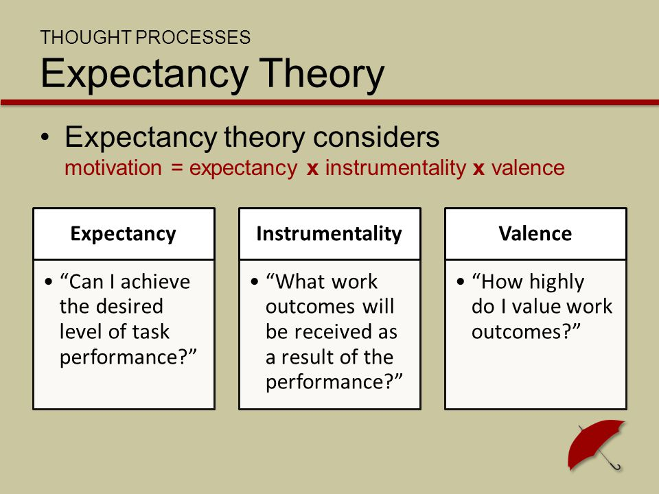 "THOUGHT PROCESSES Expectancy Theory Expectancy theory considers motivation = expectancy x instrumentality x valence Expectancy ""Can I achieve the desi"