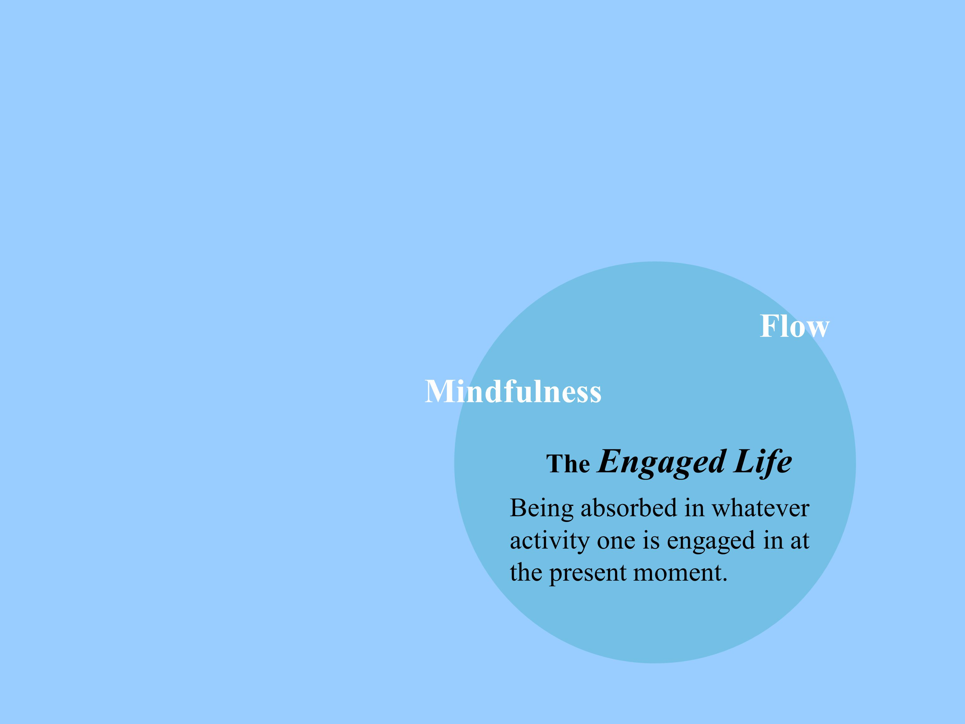 The Engaged Life Being absorbed in whatever activity one is engaged in at the present moment. Mindfulness Flow