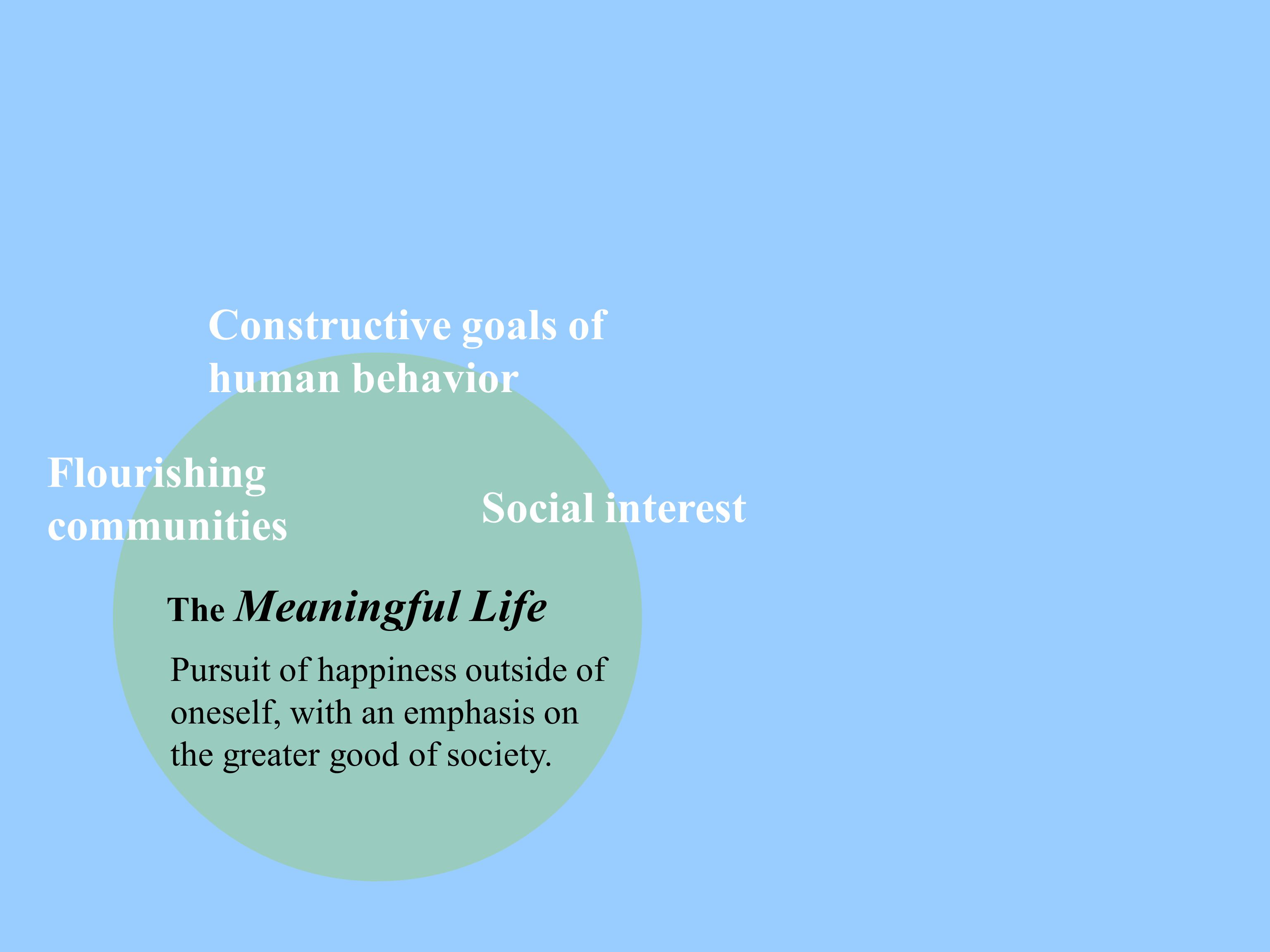 The Meaningful Life Pursuit of happiness outside of oneself, with an emphasis on the greater good of society. Flourishing communities Constructive goa