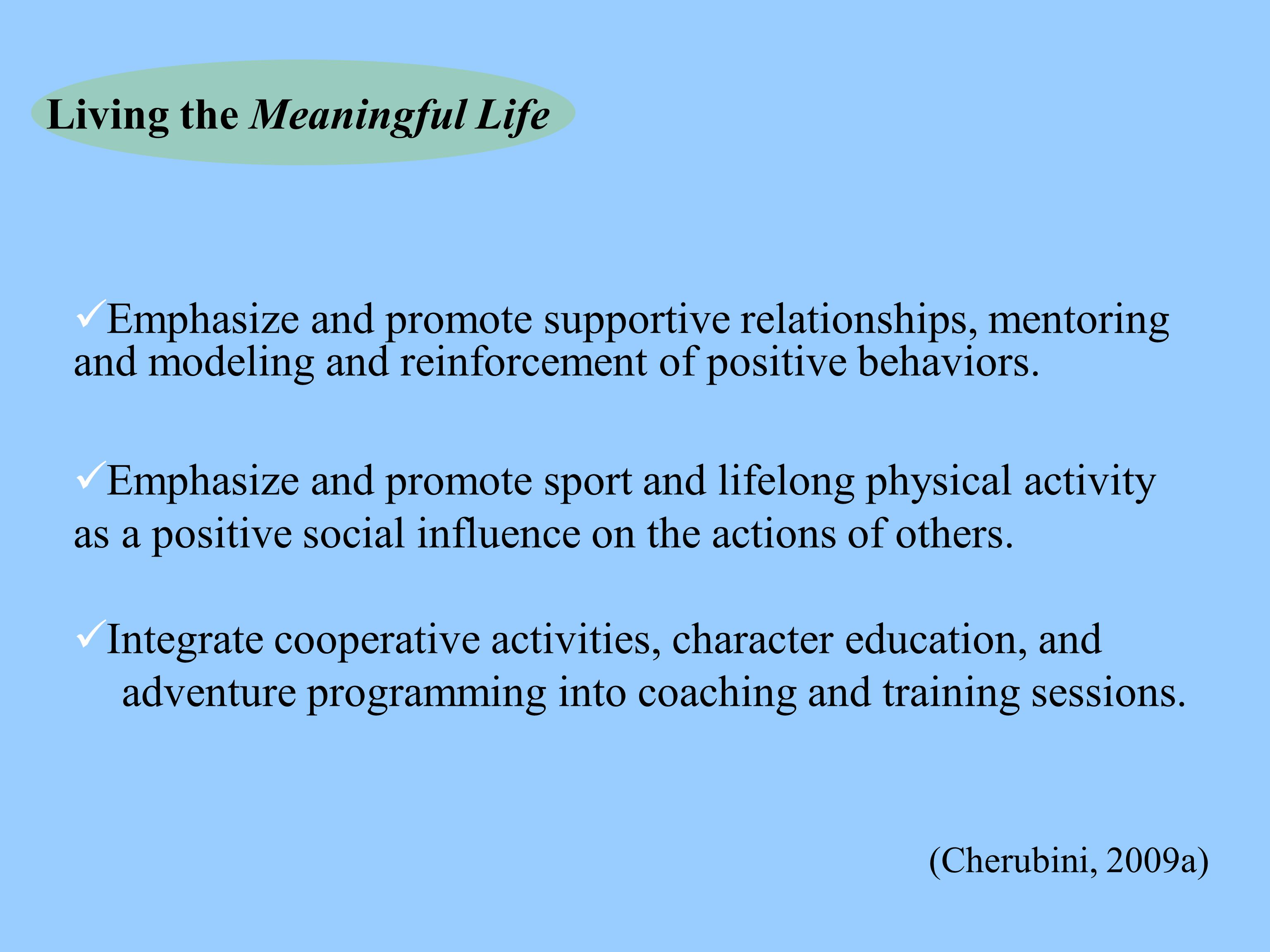 Living the Meaningful Life Emphasize and promote supportive relationships, mentoring and modeling and reinforcement of positive behaviors. Emphasize a