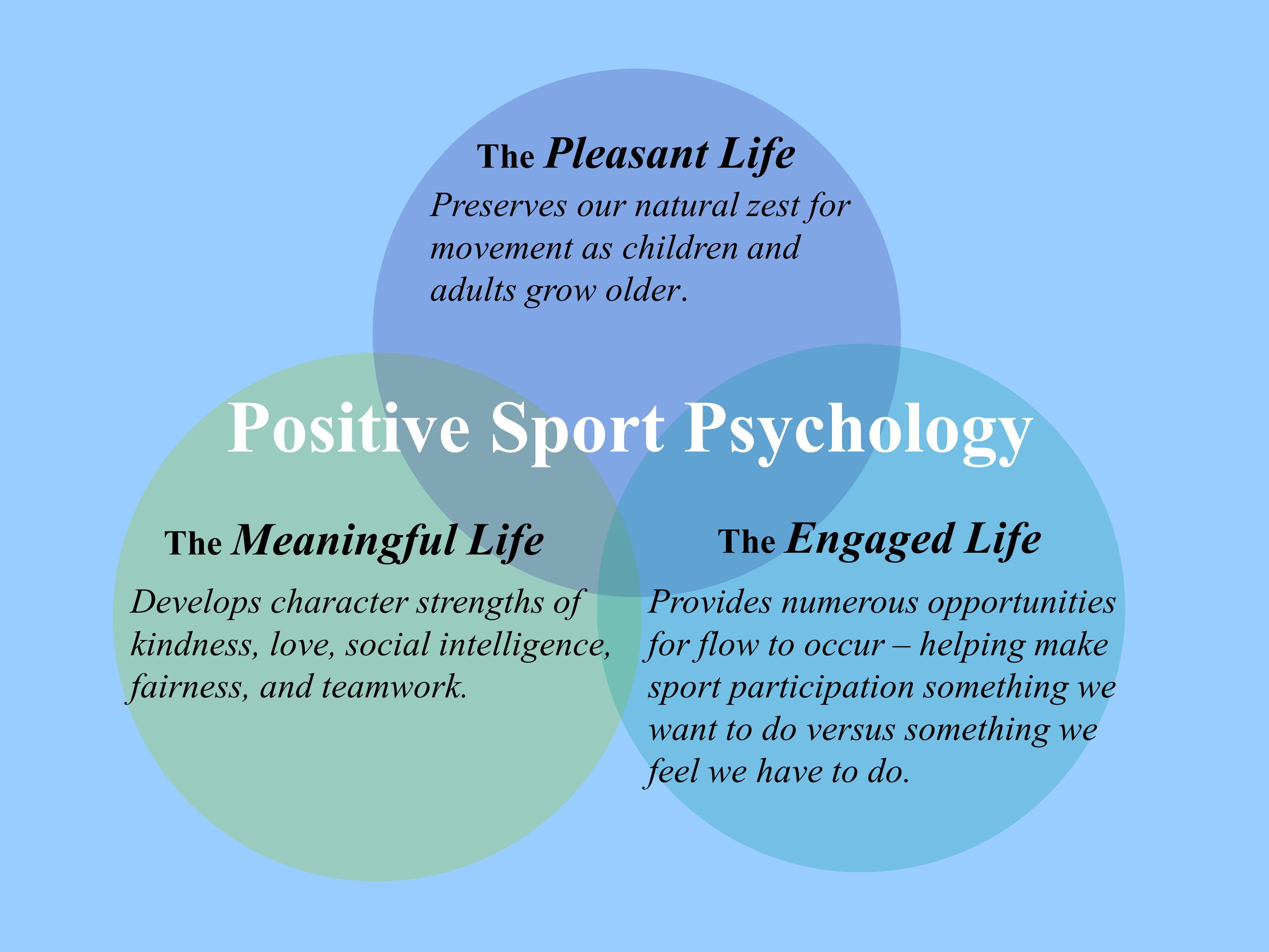The Meaningful Life The Engaged Life The Pleasant Life Positive Sport Psychology Preserves our natural zest for movement as children and adults grow o