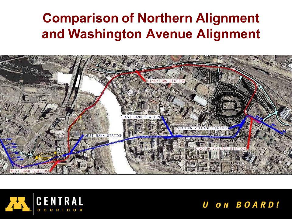 20 Comparison of Northern Alignment and Washington Avenue Alignment