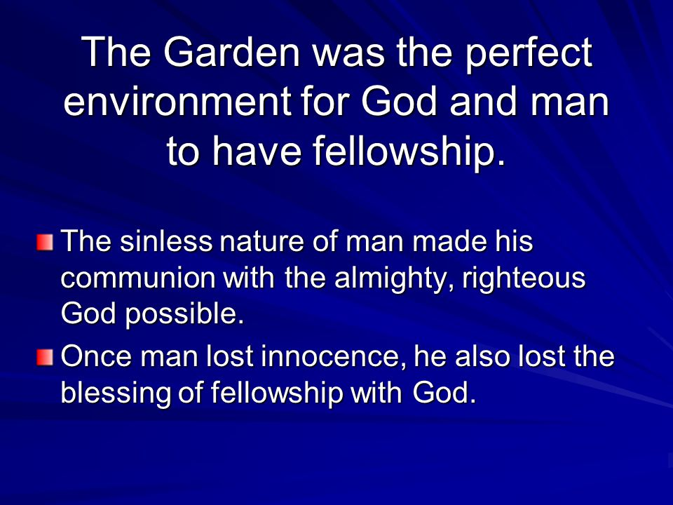 The Garden was the perfect environment for God and man to have fellowship.