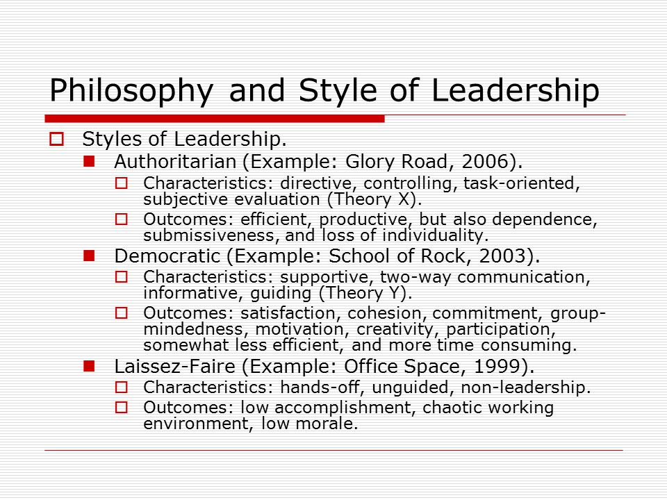 Philosophy and Style of Leadership  Styles of Leadership.