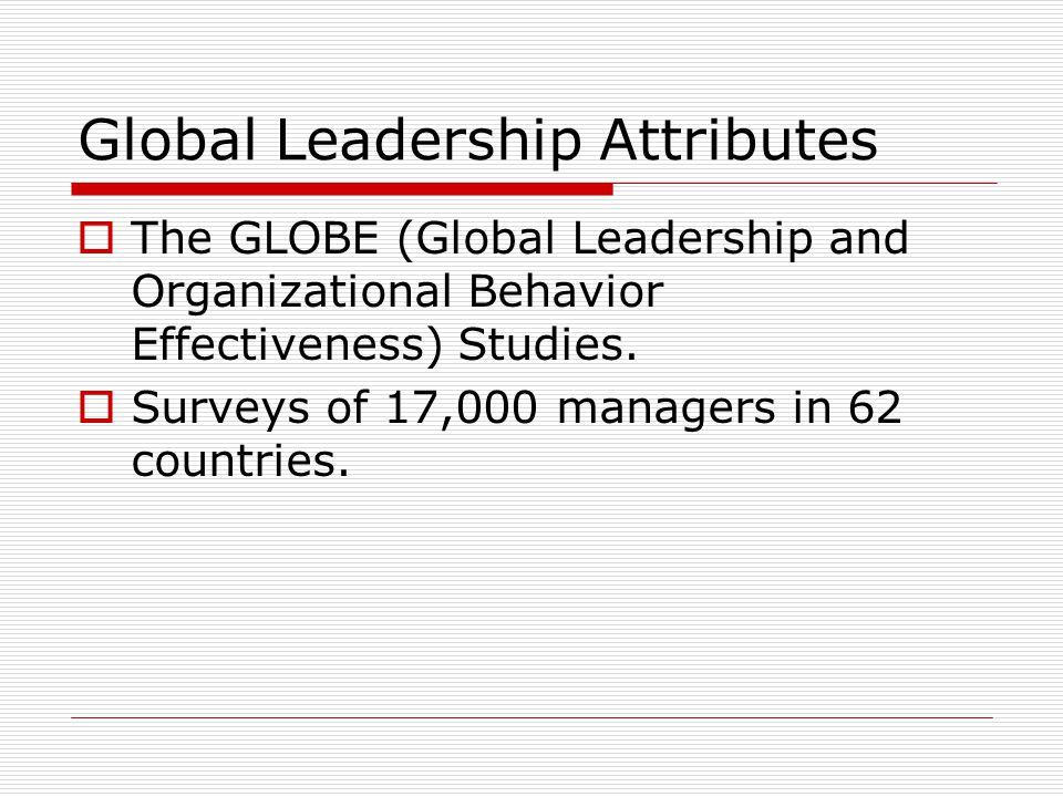 Global Leadership Attributes  The GLOBE (Global Leadership and Organizational Behavior Effectiveness) Studies.
