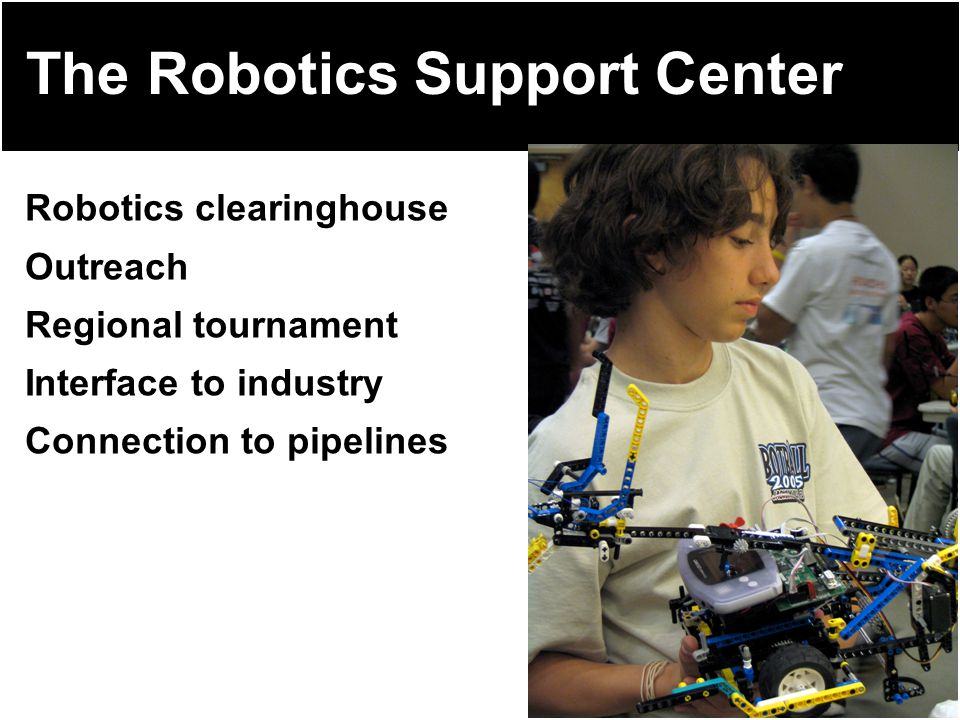TM The Robotics Support Center Robotics clearinghouse Outreach Regional tournament Interface to industry Connection to pipelines