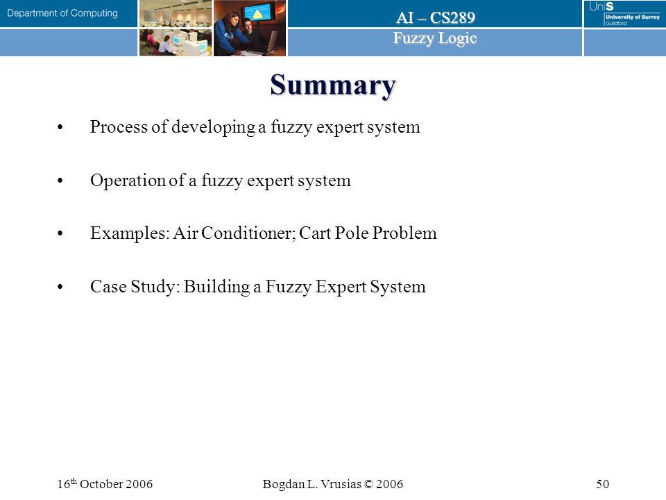 AI – CS289 Fuzzy Logic 16 th October 2006Bogdan L.