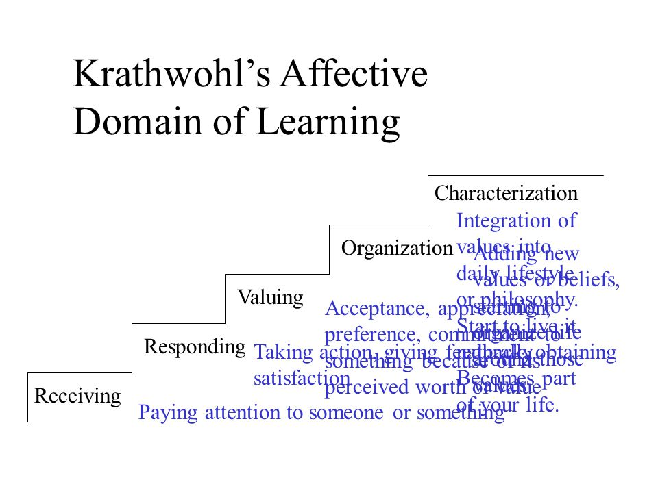 Receiving Responding Valuing Organization Characterization Krathwohl's Affective Domain of Learning Paying attention to someone or something Taking action, giving feedback, obtaining satisfaction Acceptance, appreciation, preference, commitment to something because of its perceived worth or value Adding new values or beliefs, starting to organize life around those values Integration of values into daily lifestyle or philosophy.
