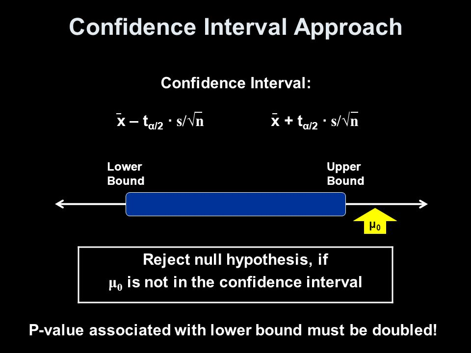 Reject null hypothesis, if μ 0 is not in the confidence interval Confidence Interval: x – t α/2 · s/√n x + t α/2 · s/√n Confidence Interval Approach Lower Bound Upper Bound μ0μ0 P-value associated with lower bound must be doubled!