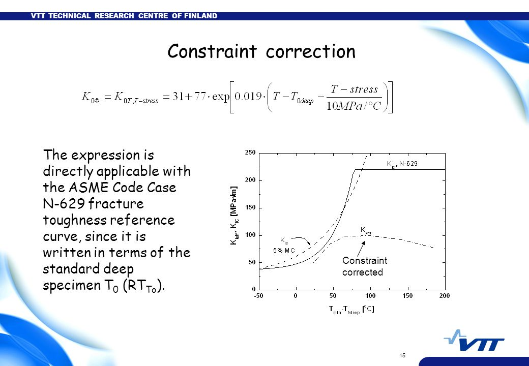 VTT TECHNICAL RESEARCH CENTRE OF FINLAND 15 Constraint correction The expression is directly applicable with the ASME Code Case N-629 fracture toughness reference curve, since it is written in terms of the standard deep specimen T 0 (RT To ).