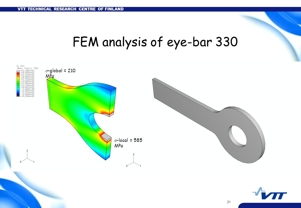 VTT TECHNICAL RESEARCH CENTRE OF FINLAND 21 FEM analysis of eye-bar 330  -local = 585 MPa  -global = 210 MPa