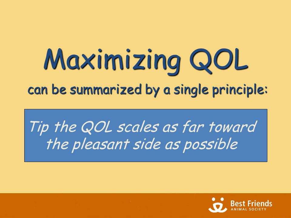 can be summarized by a single principle: Tip the QOL scales as far toward the pleasant side as possible Maximizing QOL