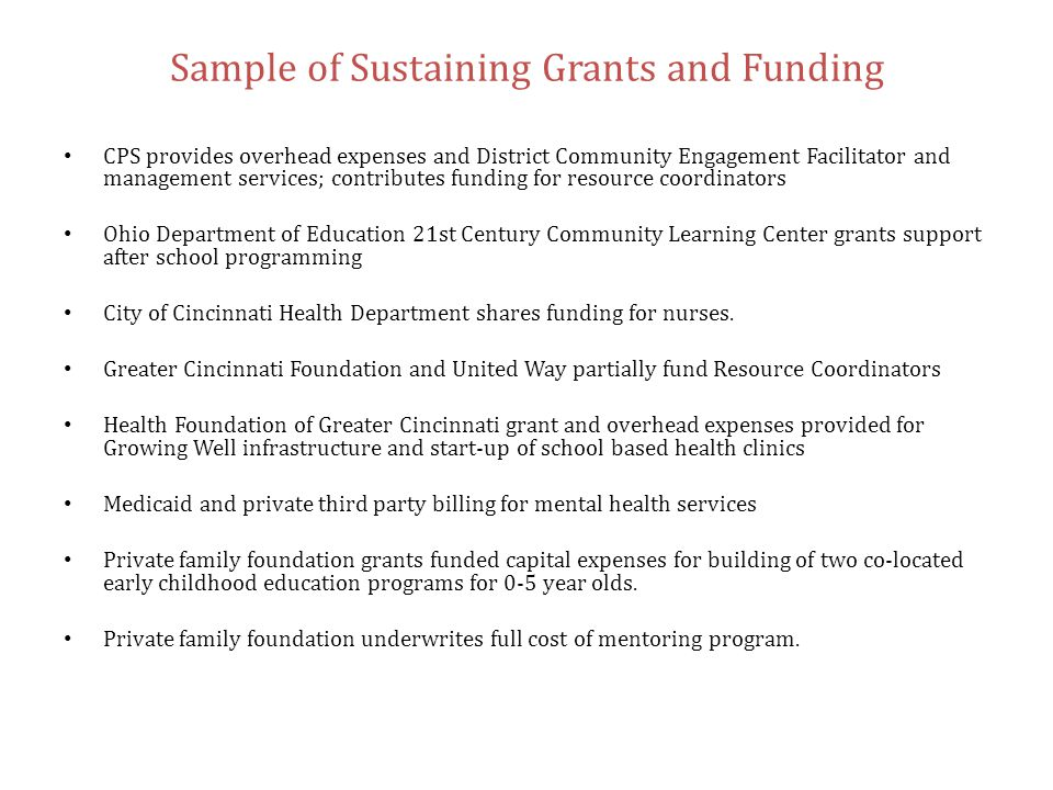 Sample of Sustaining Grants and Funding CPS provides overhead expenses and District Community Engagement Facilitator and management services; contribu