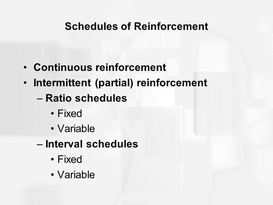 Schedules of Reinforcement Continuous reinforcement Intermittent (partial) reinforcement –Ratio schedules Fixed Variable –Interval schedules Fixed Var