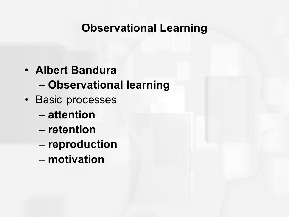 Observational Learning Albert Bandura –Observational learning Basic processes –attention –retention –reproduction –motivation