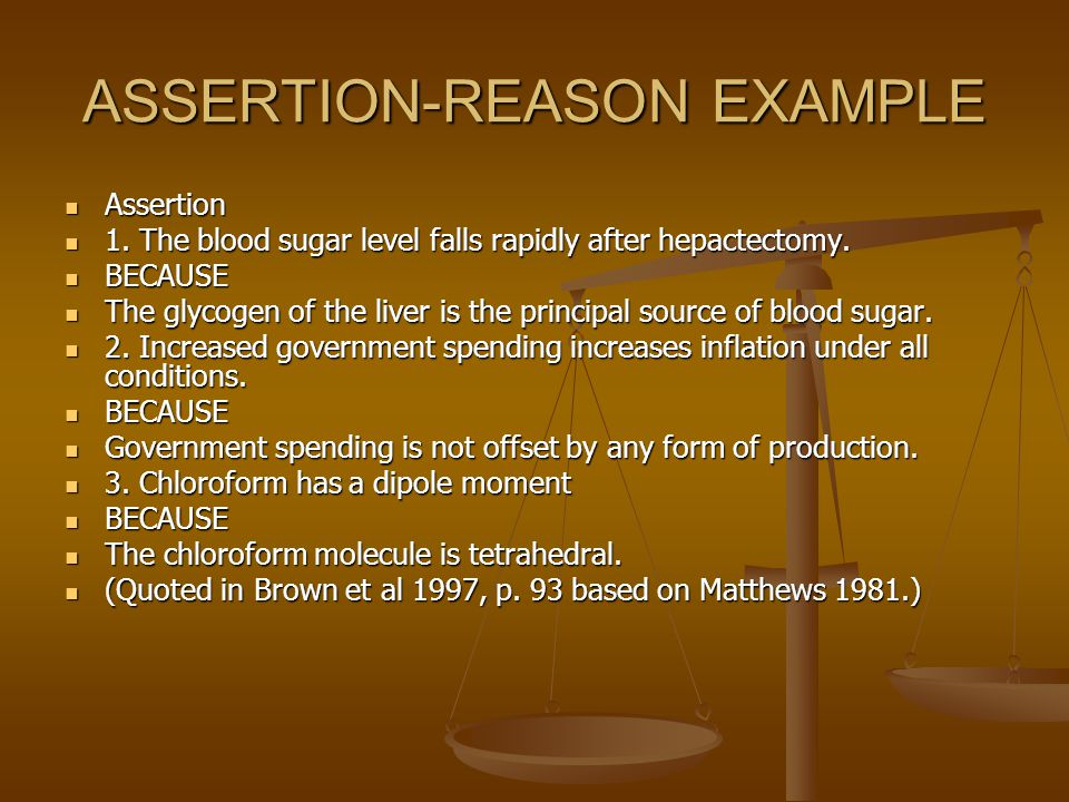 ASSERTION-REASON EXAMPLE Assertion Assertion 1.