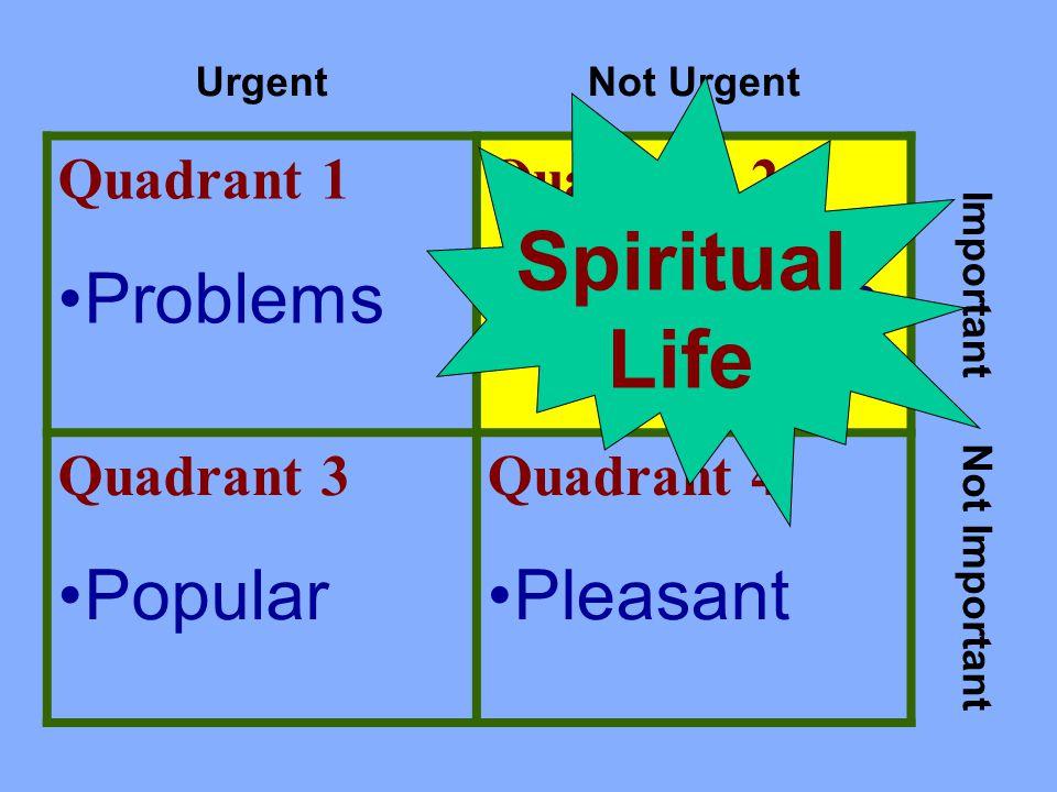 UrgentNot Urgent Quadrant 1 Problems Quadrant 2 Preparation Important Quadrant 3 Popular Quadrant 4 Pleasant Not Important Spiritual Life