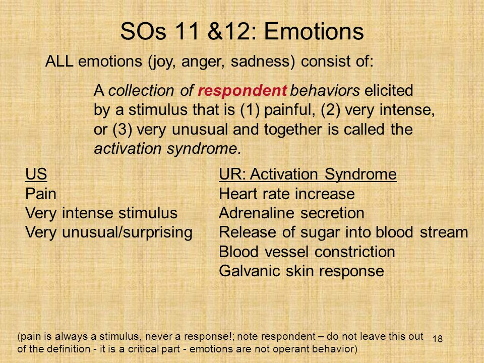18 SOs 11 &12: Emotions ALL emotions (joy, anger, sadness) consist of: A collection of respondent behaviors elicited by a stimulus that is (1) painful, (2) very intense, or (3) very unusual and together is called the activation syndrome.