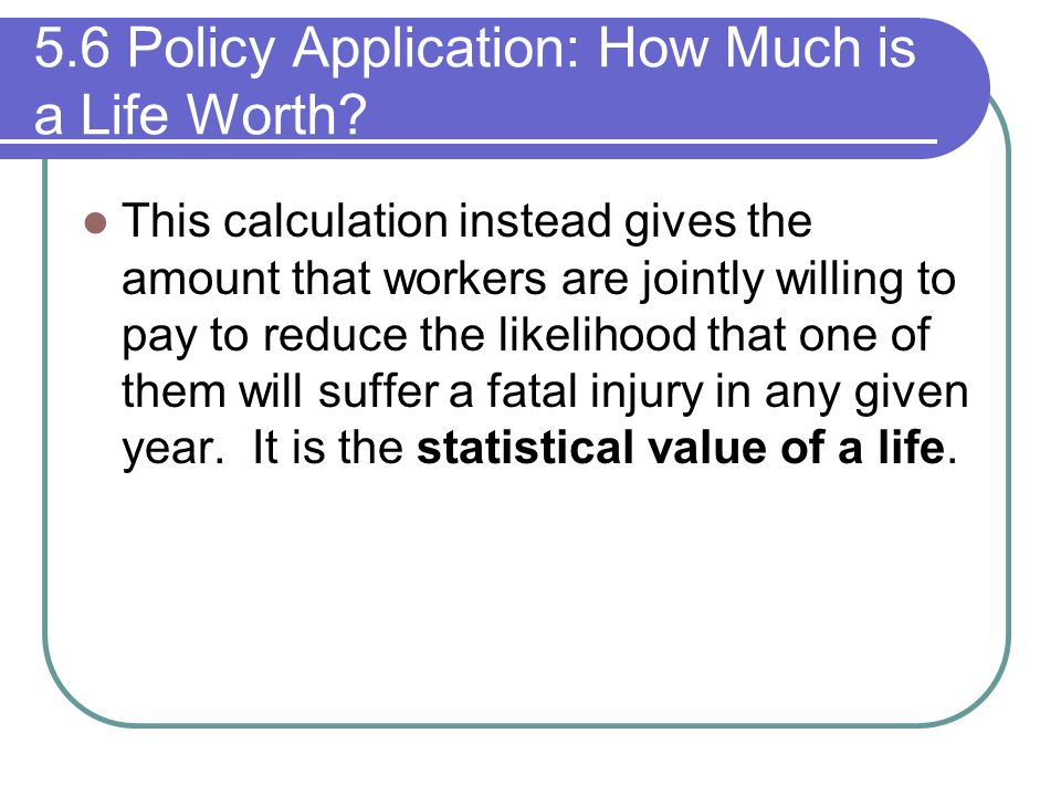 5.6 Policy Application: How Much is a Life Worth? This calculation instead gives the amount that workers are jointly willing to pay to reduce the like