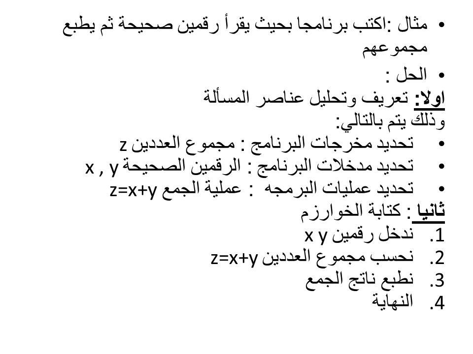 مثال : اكتب برنامجا بحيث يقرأ رقمين صحيحة ثم يطبع مجموعهم الحل : اولا : اولا : تعريف وتحليل عناصر المسألة وذلك يتم بالتالي : تحديد مخرجات البرنامج : مجموع العددين z تحديد مدخلات البرنامج : الرقمين الصحيحة x, y تحديد عمليات البرمجه : عملية الجمع z=x+y ثانيا ثانيا : كتابة الخوارزم 1.