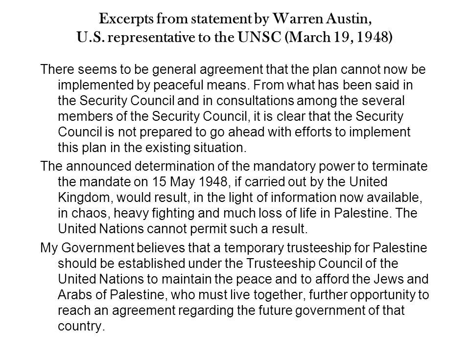 Excerpts from statement by Warren Austin, U.S.