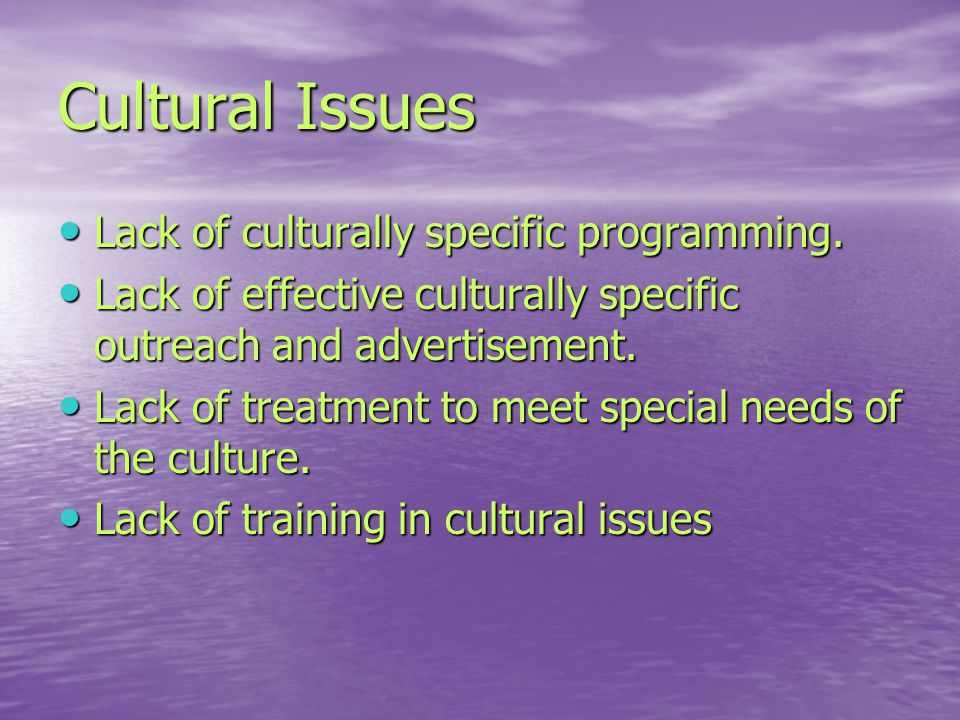 Cultural Issues Lack of culturally specific programming.