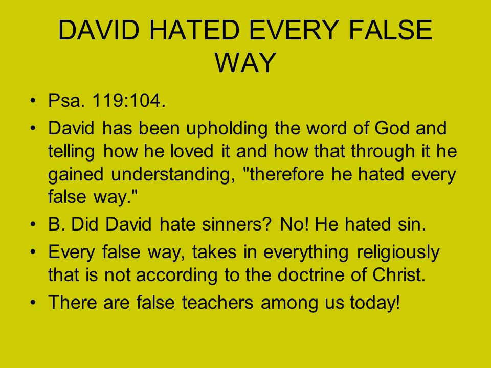 DAVID HATED EVERY FALSE WAY Psa. 119:104.