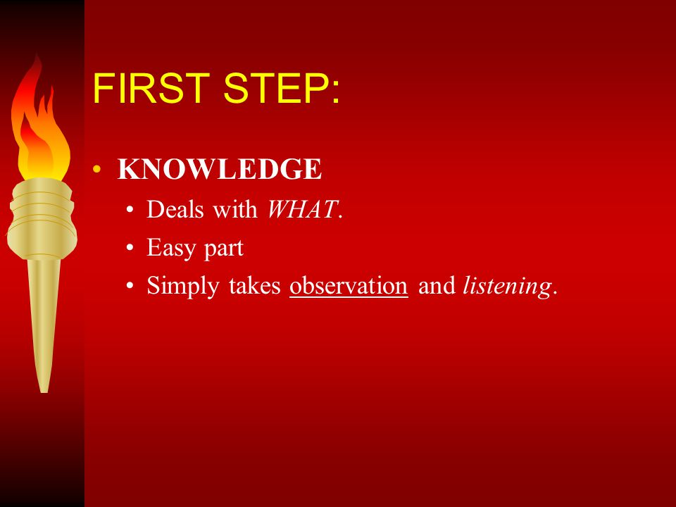 SECOND STEP: UNDERSTANDING.Tough –takes time. Answers the question WHY.