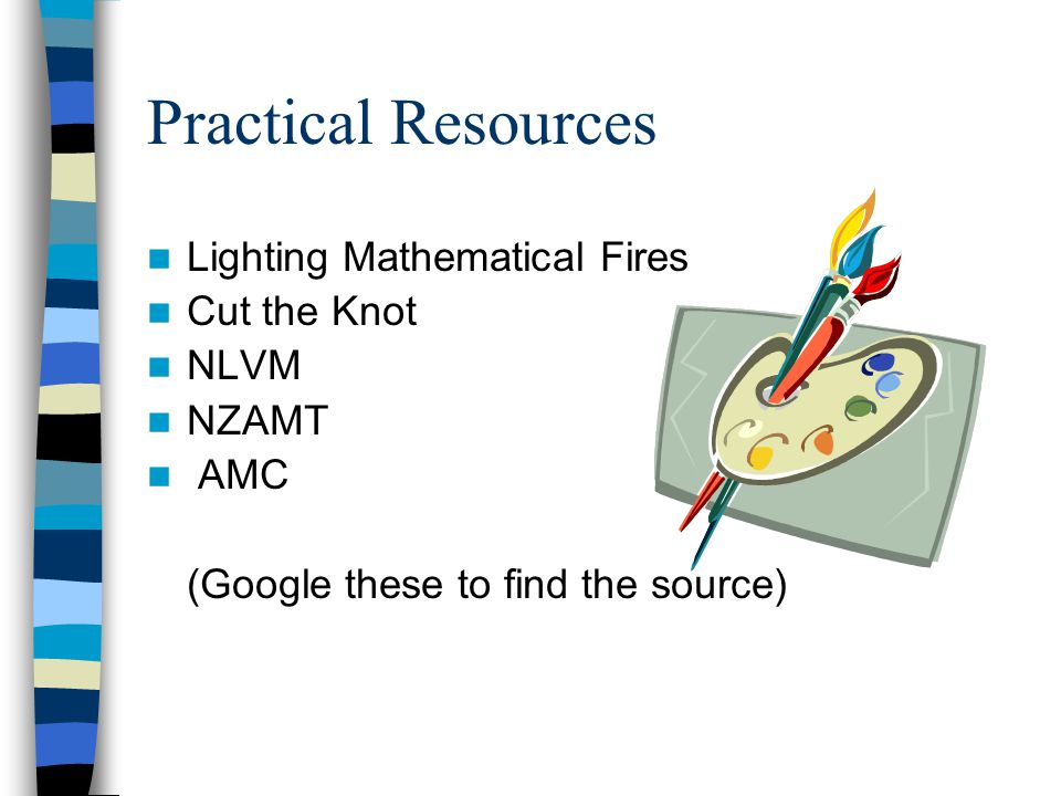 Practical Resources Lighting Mathematical Fires Cut the Knot NLVM NZAMT AMC (Google these to find the source)