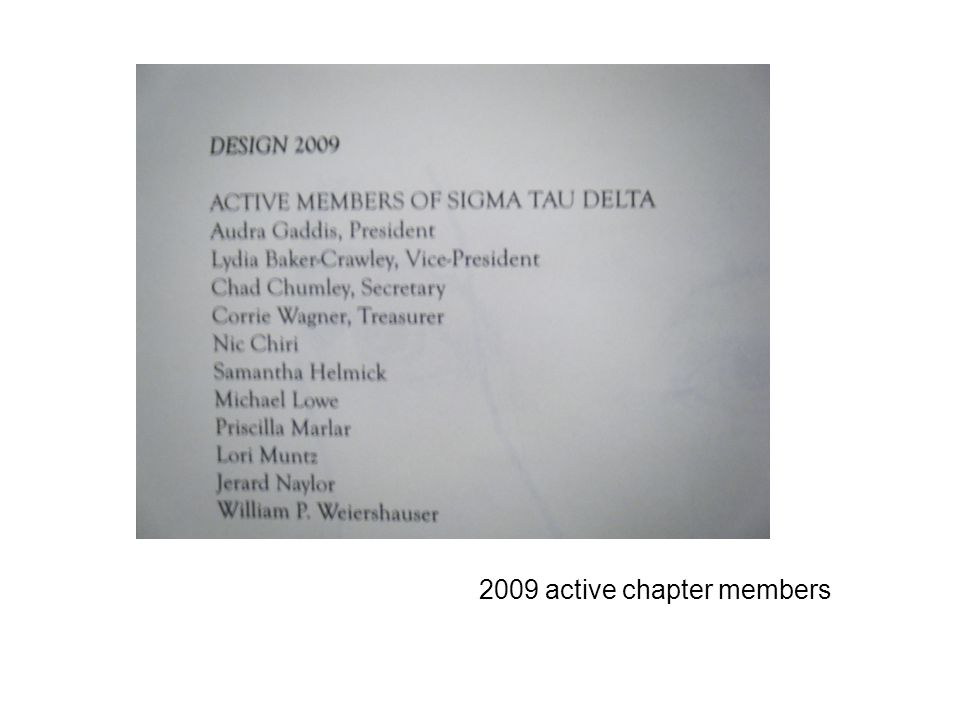 2009 active chapter members