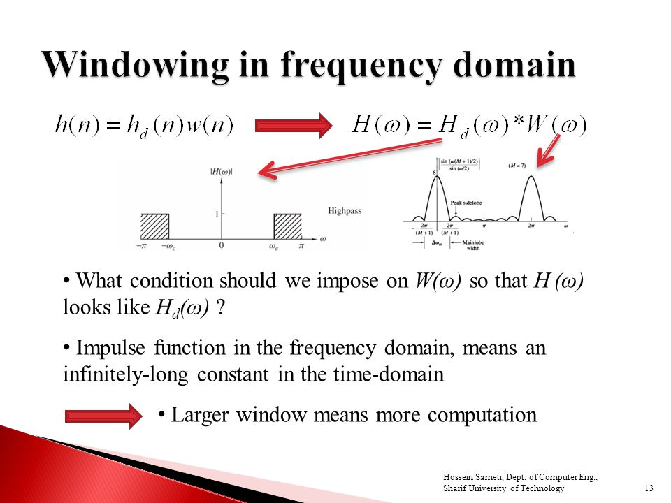 What condition should we impose on W(ω) so that H (ω) looks like H d (ω) ? Impulse function in the frequency domain, means an infinitely-long constant