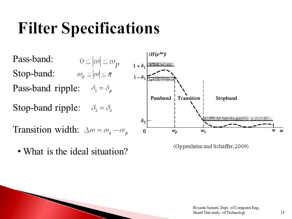Pass-band: Stop-band: Pass-band ripple: Stop-band ripple: Transition width: What is the ideal situation? (Oppenheim and Schaffer, 2009) 19 Hossein Sam