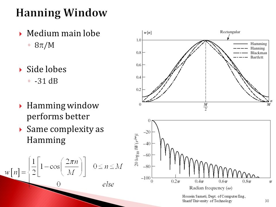  Medium main lobe ◦ 8  /M  Side lobes ◦ -31 dB  Hamming window performs better  Same complexity as Hamming 30 Hossein Sameti, Dept.