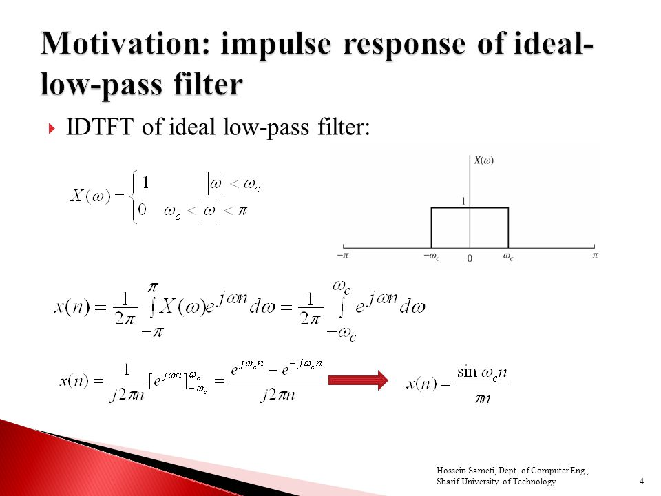  IDTFT of ideal low-pass filter: 4 Hossein Sameti, Dept.