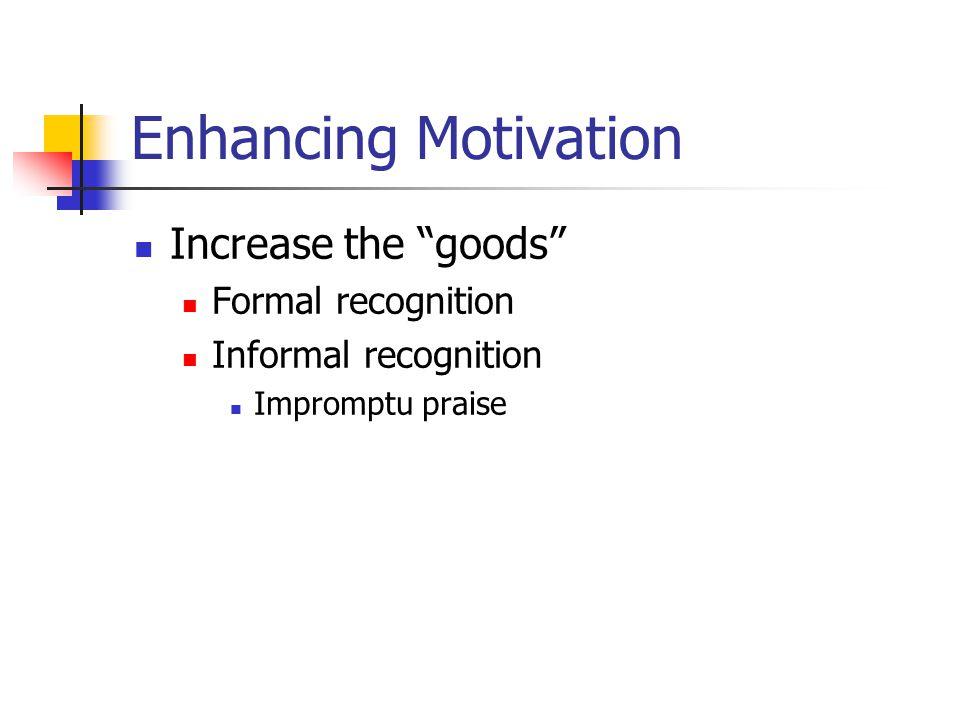 Enhancing Motivation Increase the goods Formal recognition Informal recognition Impromptu praise