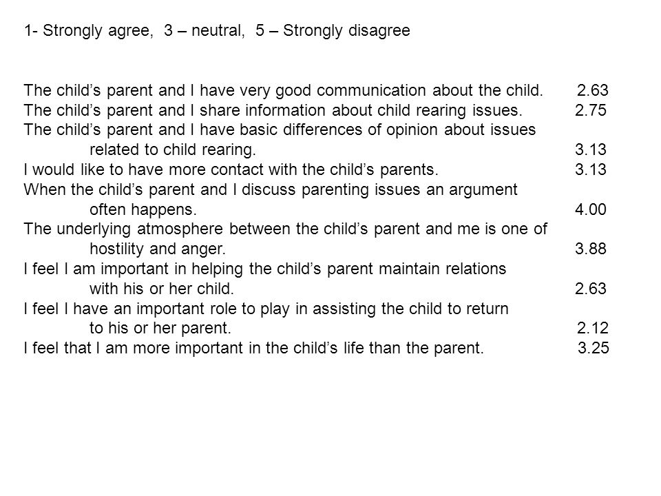 1- Strongly agree, 3 – neutral, 5 – Strongly disagree The child's parent and I have very good communication about the child.